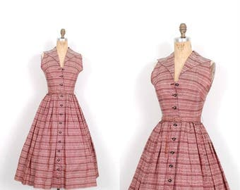 Vintage 1950s Dress / 50s Pink and Black Taffeta Party Dress / Full Skirt ( XS extra small )