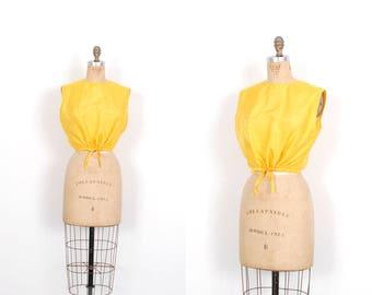 Vintage 1980s Blouse / 80s Silk Drawstring Waist Crop Top / Yellow ( medium M )