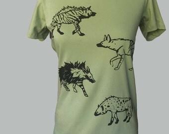Hyena T Shirt Green Organic Unisex or Women's