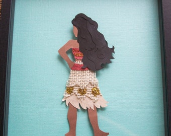 Moana Beautiful Disney Princess Inspired Paper Art Layered Wall Art
