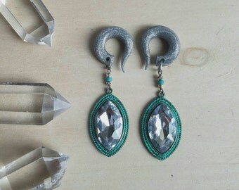 Emerald City Marquise Diamond Drop Gauged Earrings Plugs / OOAK