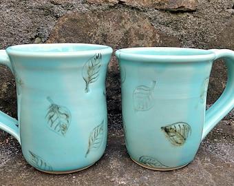 Handmade Pottery Coffee Mug,Stoneware Mug, Tea Cup,Office Mug, Coffee Cup,Botanical Leaf Mug,Blue Pottery Coffee Cup,Leaf Aqua Coffee Cup,