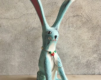 Vintage folk art rabbit sculpture by Jorge Rodriguez, rabbit wood carving, New Mexico folk art, bunny lover, jack rabbit