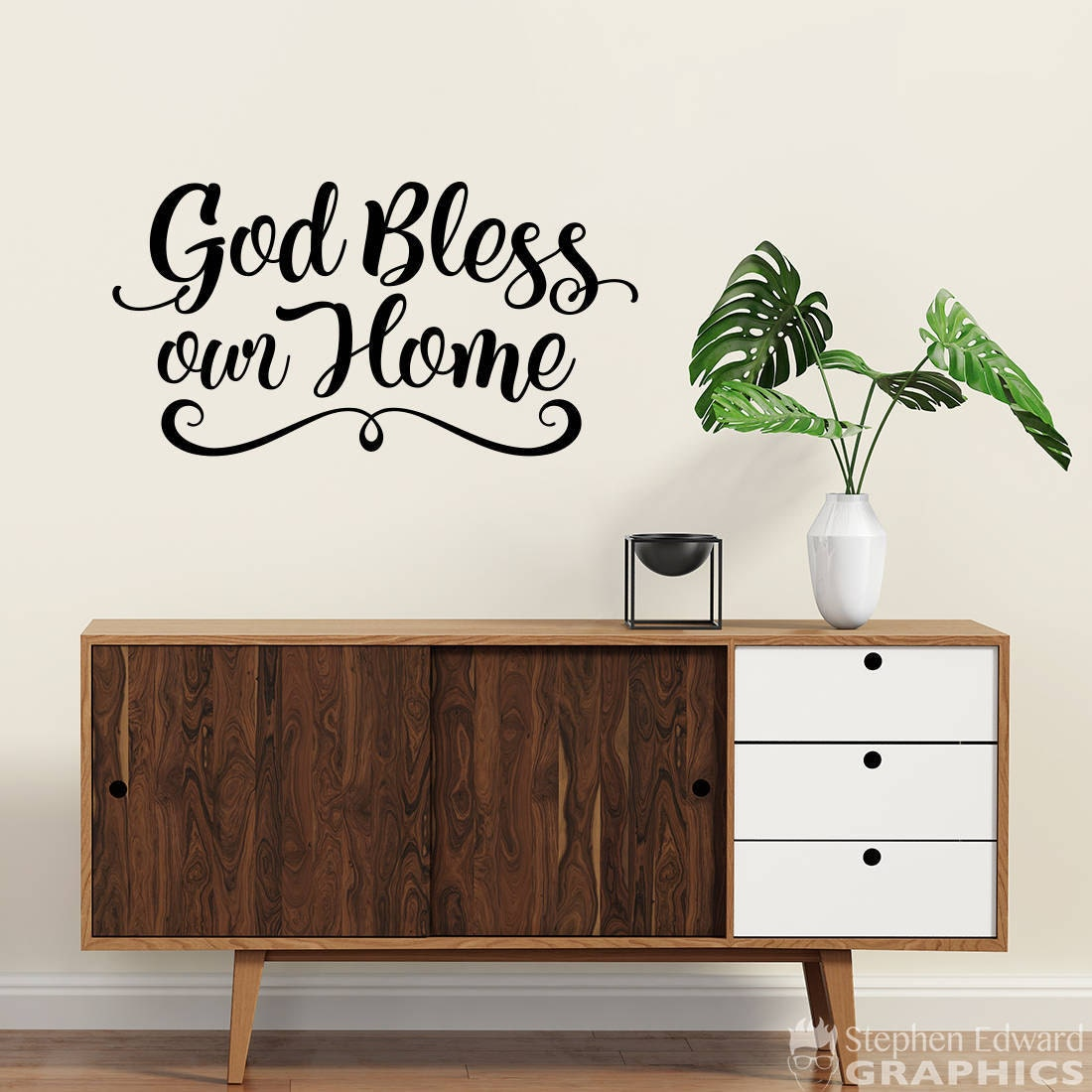 god bless our home decal home wall decor bless wall decal. Black Bedroom Furniture Sets. Home Design Ideas
