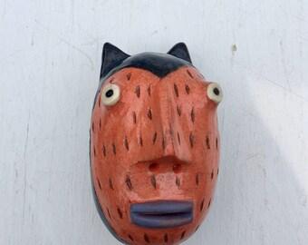 Bat cat pink and blue wall sculpture small rd. head