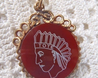 Vintage Pocket Watch Fob Fraternal Carnelian Glass Indian Chief Order of the Eagle