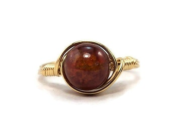 LG Hessonite Garnet Gemstone 14k Yellow Gold Fill Wire Wrapped Ring