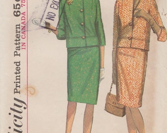 Simplicity 6125 / Vintage 60s Sewing Pattern / Skirt Jacket Suit / Size 14 Bust 34