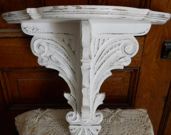 On Sale Now* Shabby, chippy white carved wall shelf