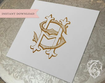 Vintage Wedding Monogram HS SH Digital Download S H