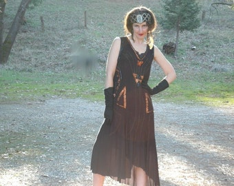 Size Large... 1920s Inspired Flapper Dream Babe Dress... Gossamer Black Floaty Fabric with Shimmering Sequin Details