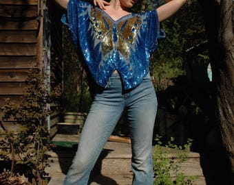 Free Size.. Vintage 80s Sequined Butterfly Top... Disco Glamor Babe