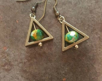 Antiqued Bronze Boho Triangle Geometric Earrings Simple Minimalist Earrings Upcycled Recycled