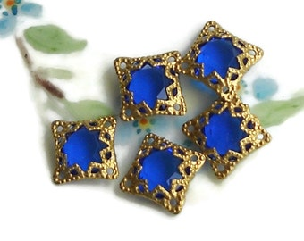 Vintage Filigree Findings Charms Pendants Gold Tone Old Beads Connectors, Square Cobalt Blue Components. #751