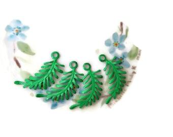 Enamel Metal Leaves Findings Connectors Embellishments Ferns Vintaj Brass Fastenables Fern Art Nouveau Loop Green. #324