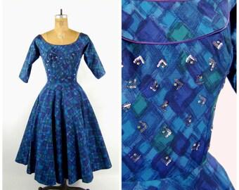 1950s Blue Bombshell Dress // Full Circle Skirt // Fit and Flare Mid 1950s Blue Black Purple Plaid // Jewel Tone