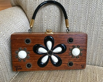 60s Enid Collins Box Bag Authentic Signed EC Mira Flores Fabulous Collectible Jeweled Wood Folk Art To Wear