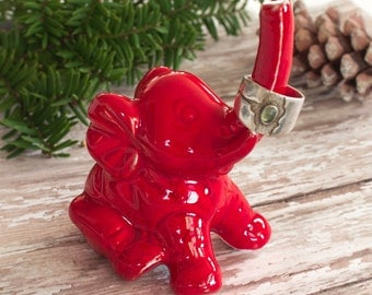 Red Elephant ring holder, jewelry Ring Holders handmade ceramic pottery Lucky Elephant Decor unique Christmas holiday gift for her under 25