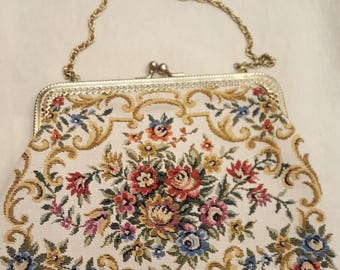 Vintage Handbag with Chain, Walborg Pretty Petit Point Purse, Floral Tapestry