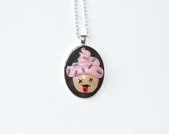 Clearance Dead pink cupcake cameo pendant necklace. bitten cupcake. adjustable silver color chain.