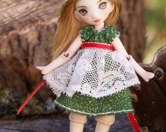 tiny porcelain bjd art doll with green dress,  Meka 31/50 by ladymeow