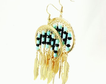 Gold Feather Earrings with Black and Blue Glass Beads