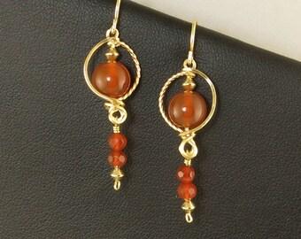 Red Orange Carnelian Gold Dangle Earrings, Flame Orange Carnelian Stone Unique Wire Wrapped Gold Dangle Earrings