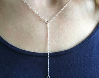 Opal and Sterling Silver Lariat Necklace