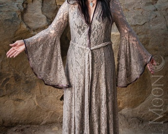 NEW Limited Edition: The Dusty Lavender Lace Priestess Cloak with Hood by Opal Moon Designs (Size XS-XL)