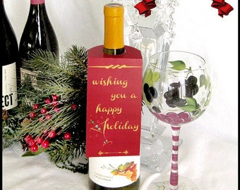 Holiday Wine Tags / Xmas Red & Gold / Wishing You a Happy Holiday / Martini Glass / Set of 3 / Christmas Bottle Tags / DIY Instant Download
