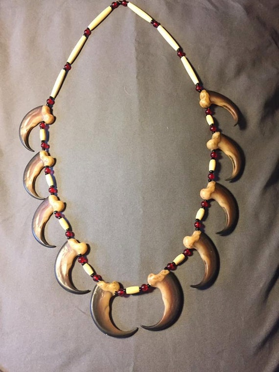 Black Bear claw necklace native american made with RESIN claw