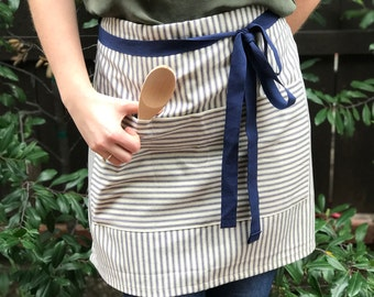 Blue Ticking Half Apron