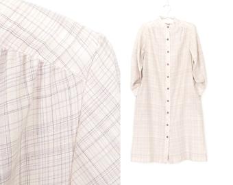 Vintage 70s Dress * 1970s Day Dress * Button-up Smock Dress * M / L