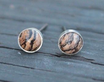 Picture Jasper Bezel Set Gemstone - 6 mm - on Niobium or Titanium Posts (Hypoallergenic Stud Earrings for Sensitive Ears)
