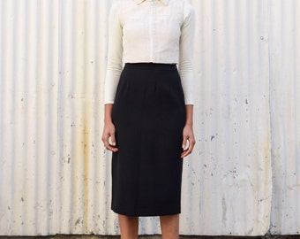 Vintage Jean Muir London 1960's Black Tailored Mod Cocktail Pencil Wiggle Skirt S/M 27