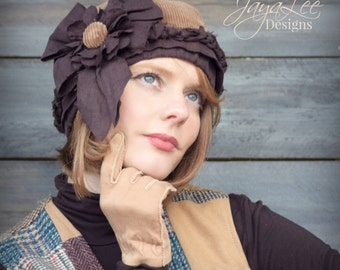 Brown Corduroy Hat, Beanie, Beret, Cloche Rustic Winter Fashion, Chemo Hat