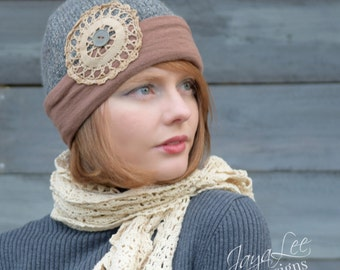 Beanie Hat Recycled Upcycled Winter Sweater Hat With Vintage Doily