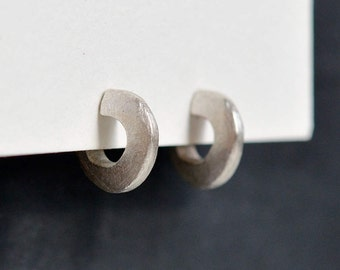 Little Chunky Sterling Silver Hoop Stud Earrings - Hand Carved - Handmade in NYC Hook And Matter - Nickel Free - Eco Friendly Eco Conscience