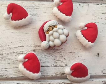 """Santa Hat And Santa Buttons, Novelty Button Package by Buttons Galore, """"Santa's Hat Rack"""", Style 4739, Shank Back Button, 6 Buttons Per Pack"""