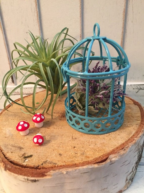 Mini Blue Metal Bird Cage, Hinged Top, Fairy Garden Accessory, Miniature Home and Garden Decor, Crafting, Topper, Shelf Sitter