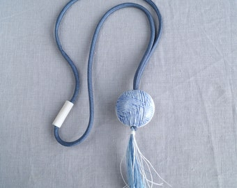 TASSEL necklace ball of wool porcelain pendant boho necklace artisan ceramic necklace cobalt glaze denim blue satin cord