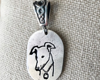 Greyhound Pendant Fine Silver Oval Small Medium