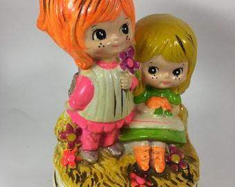1970 Vintage Rotating Musical Figurine  - two girls and blue bird - Berrie, Sankyo, Japan