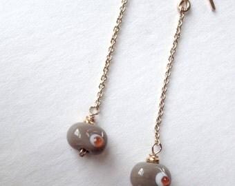 Lampworked Glass Bead Earrings - Petite Bean Dangle + 18k Gold Vermeil
