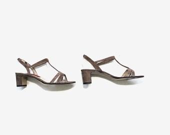 Vintage Leather Heels 8.5 / Suede Block Heels / Strappy Heels / T Strap Heels / Strappy Sandals