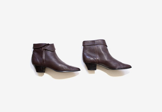 Vintage Ankle Boots 7.5 / Brown Leather Boots / Ankle Boots Women / Cuffed Ankle Boots