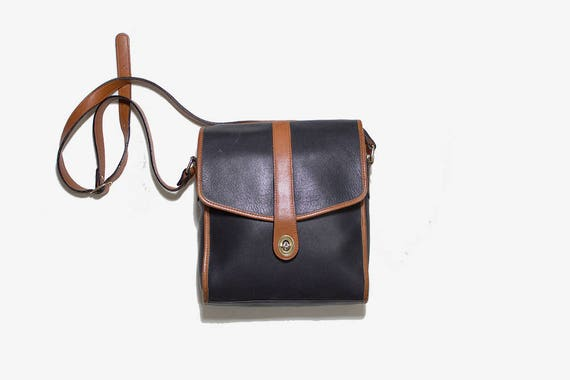 Vintage Leather Satchel / Black Leather Satchel / Leather Saddle Bag / Two Tone Leather Bag / Structured Leather Purse / Crossbody Purse