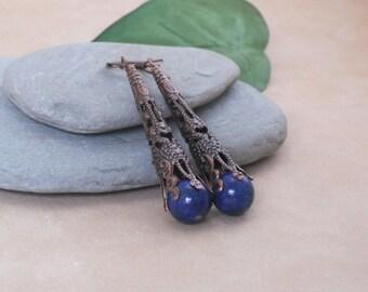 Earrings Lapis Lazuli in Long Antique Copper Filigree Cones, Lapis Copper Earrings, Blue Stone Earrings, Long Lapis Boho Earrings