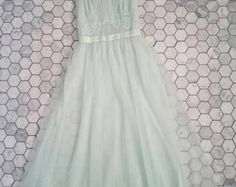 60s Vintage SEAFOAM Chiffon Lace Detail Slip (xs)