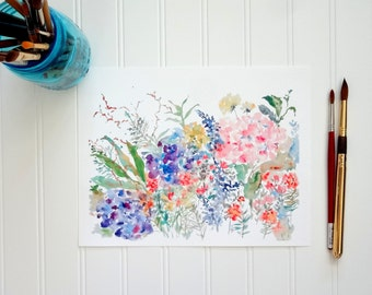 NEW! Hydrangea Arrangement, Watercolor Hydrangeas Fine Art Print, Wall Decor, Floral Watercolor
